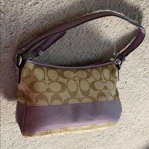 💕 Coach creme purple small make up bag 💕